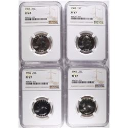 1960, '61, '62, '63 WASHINGTON QTRS NGC PF67