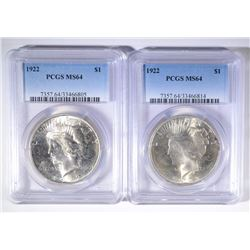 2- 1922 PEACE SILVER DOLLARS, PCGS MS64