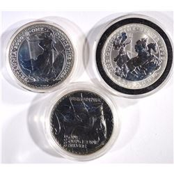 3 1oz .999 SILVER BRITISH BRITANNIAS:
