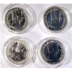4-ONE OUNCE .999 SILVER BRITISH BRITANNIAS: