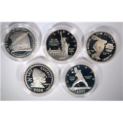 5 - SILVER PROOF COMMEM DOLLARS; 2000 LEIF, 1992