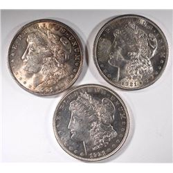3 - 1921 BU MORGAN DOLLARS
