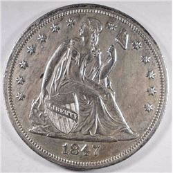 1847 SEATED LIBERTY DOLLAR UNC  RARE!