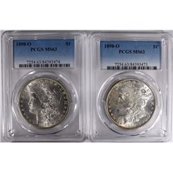2 1898-O MORGAN DOLLARS PCGS MS63