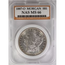 1887-O MORGAN DOLLAR NAS GRADED GEM BU
