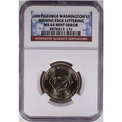 2007 GEORGE WASHINGTON $1 NGC MS 64