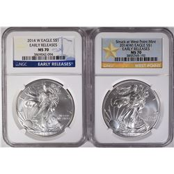 2014 W & 2014(W) NGC ASE MS 70 EARLY RELEASES