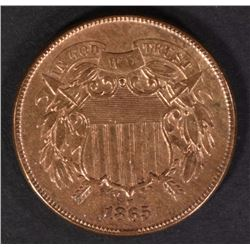 1865 TWO CENT AU/UNC  RED
