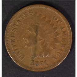1871 INDIAN CENT FINE  KEY COIN
