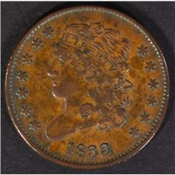 1833 HALF CENT AU/UNC BROWN  NICE