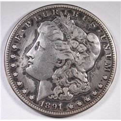 1891 CC MORGAN DOLLAR F-VF