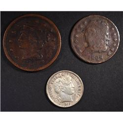 3 COIN LOT: 1828 HALF CENT VF,