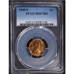 1940-S LINCOLN CENT PCGS MS67RD
