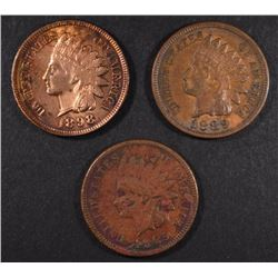 1889, 1898 & 1885 INDIAN HEAD CENTS