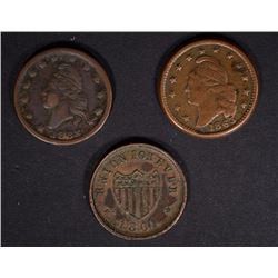 (3) CIVIL WAR TOKENS- ARMY & NAVY, UNION, & PEACE