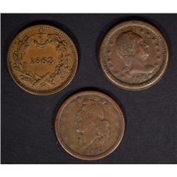 "(3) CIVIL WAR TOKENS- ""UNION"""