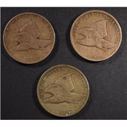 1857 VG, 1858 LL FINE,1858 S.L FLYING EAGLE CENTS