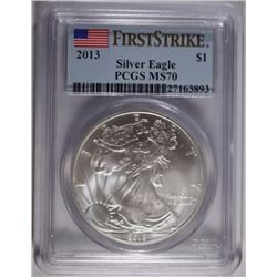 2013  SILVER EAGLE, PCGS MS-70 1st STRIKE