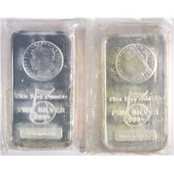 2-FIVE OUNCE .999 SILVER BARS