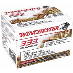 Winchester 22LR 36GR Copper-Plated Hollow Point - 3330Rds
