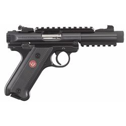 "Ruger 40150 Mark IV Tactical Double 22 Long Rifle (LR) 4.4"" TB 10+1 Black Aluminum Grip Black"