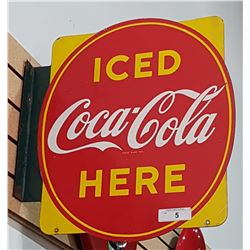 COCA-COLA DOUBLE SIDED PORCELAIN FLANGE SIGN 1950'S
