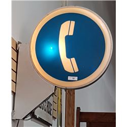 ORIGINAL BC TEL ILLUMINATED TELEPHONE SIGN DOUBLE SIDED