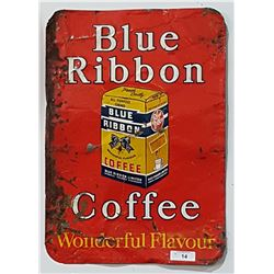 ORIGINAL BLUE RIBBON COFFEE SIGN 1950'S