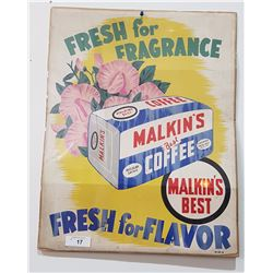 MALKINS COFFEE ORIGINAL CARDBOARD SIGN 1930'S