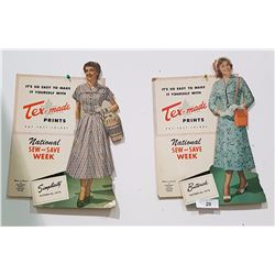 PAIR OF TEX-MADE CARDBOARD EASEL BACK SIGNS 1950'S