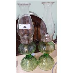 PAIR OF DEPRESSION GLASS OIL LAMPS