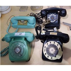 FOUR VINTAGE ROTARY DIAL PHONES