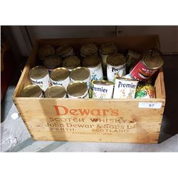 WOOD CRATE W/REPRODUCTION GROCERY TINS