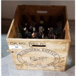 VINTAGE BUTTER BOX W/MISC BEER BOTTLES