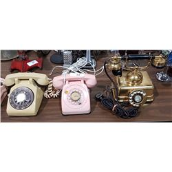 GROUP OF 3 VINTAGE ROTARY TELEPHONES