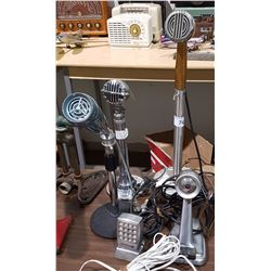 LOT OF 5 VINTAGE TABLE TOP MICROPHONES