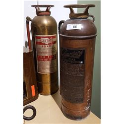 TWO ANTIQUE BRASS FIRE EXTINGUISHERS