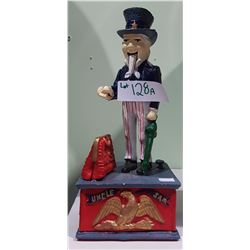 CAST IRON UNCLE SAM COIN BANK