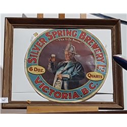 SILVER SPRING BREWERY PAPER LABEL ON FRAME
