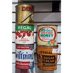 LOT OF 5 GENERAL STORE TINS