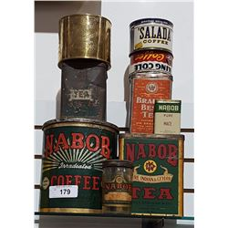 LOT OF 9 GENERAL STORE TINS