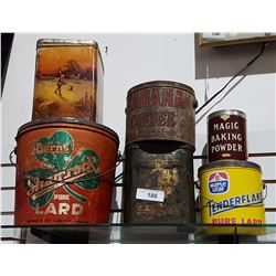 LOT OF 6 GENERAL STORE TINS