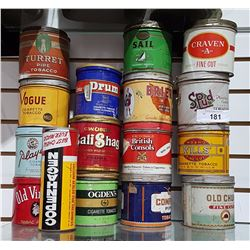 LOT OF 16 MISC TOBACCO TINS