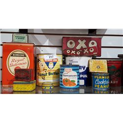 LOT OF 14 GENERAL STORE TINS