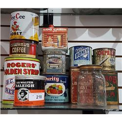 LOT OF 12 VINTAGE GENERAL STORE TINS & GLASS COFFEE JAR