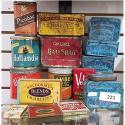 LOT OF 18 MISC TOBACCO TINS