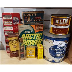 LOT OF 9 GENERAL STORE TINS & CARDBOARD BOXES