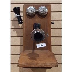 ANTIQUE HAND CRANK WALL PHONE