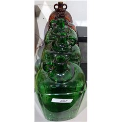 LOT OF 5 LARGE GREEN/BROWN GLASS JUGS