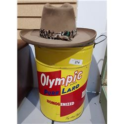 TWO PC LOT-COWBOY HAT & 50LB LARD PAIL